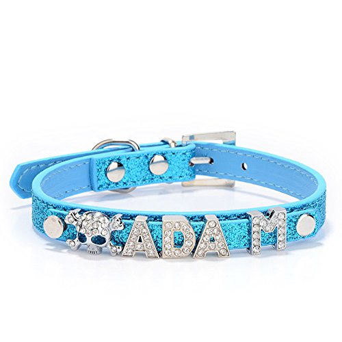 Personalized Rhinestone Pet Dog Cat Collars with Customizable Name Letters,Fit Small and Medium Dogs (XS, Blue) (Best Biker Gang Names)