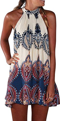 ABD Women's Sleeveless Vintage Tribal Print Ethnic Style Summer Beach Mini Dress  Print L