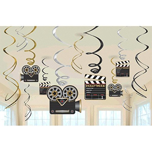 Classic Hollywood Movie Costumes (Amscan 674473 Movie Foil Swirl Hanging Decorations -Each)