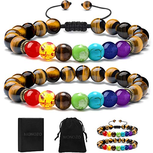Gemstone Bracelet - MONOZO Chakra Beads Bracelet - 7 Chakra 8mm Natural Tiger Eye Stone Anxiety Bracelet Yaga Gemstone Beads Stress Relief Men Women Bracelets Bangle