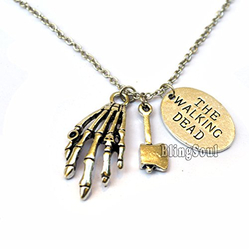 The Walking Dead Logo Zombie Hand and Hammer Charm Necklace Pendant (Harry Potter Themed Costumes)