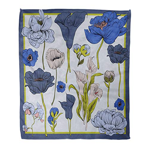 t Warm Cozy Print Flannel Colorful Silk Scarf Flowering Poppies Orchid and Peonies Black Blue Violet Comfortable Soft for Bed Sofa and Couch 60x80 Inches ()