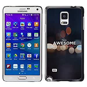 CASEMAX Slim Hard Case Cover Armor Shell FOR Samsung Galaxy Note 4 - YOU ARE AWESOME - MOTIVATIONAL