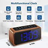 Radio Alarm Clock, Large LED Display Wood Digital