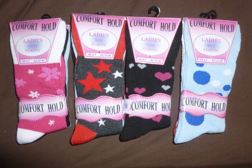 - Brand new pack of 12 pairs of English cotton socks for WOMEN with DIABETES (FUSCHIA CARAMBOLE/GREY STARS/BLACK HEARTS/SKY DOTS) [EXCLUSIVE]