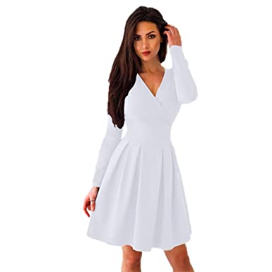 59019a3acc1b LUBITY Robe Femme Col en V Couleur Unie Grand Taille Chic Sexy Automne  Hiver Manches Longues