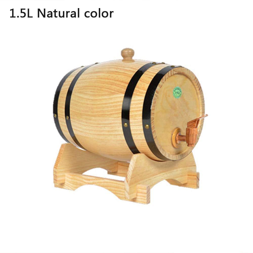 SHZONS 1.5L Barrel Wine Rack, Oak Pine Wine Barrel Storage Special Whiskey Barrel Storage Bucket Spirit Beer Casks