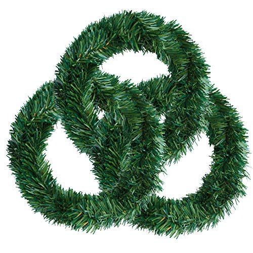 Elcoho 54 Feet Christmas Garland Artificial Green Pine Garlands Soft Christmas Decorations Wreaths for Holiday Christmas or Home Decor (3 Rolls, per Roll 18 Foot)