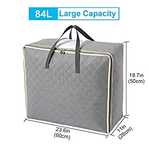 Extra Large Storage Bags, Astory 84L 2Pack Lead Free Duvet Organizer Storage Tote Bag Underbed Storage Bags Perfect for…