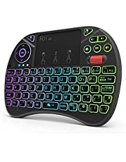 Mini Wireless Multi-media Keyboard Touch Pad Mouse Combo With Scroll Button/Handheld Remote/LED Backlit/Rechargeable For PC/Laptop/Smart TV/Raspberry Pi/KODI//Android TV Box/HTPC/Windows