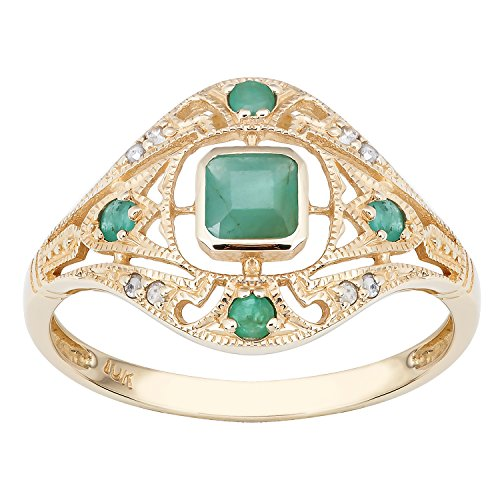 10k Yellow Gold Vintage Style Genuine Emerald and Diamond Ring