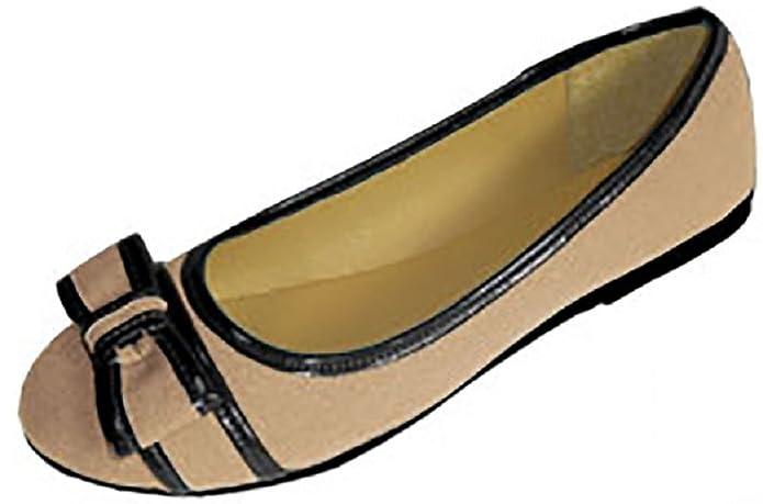 54ddf3cb5bd57 Amazon.com | Womens Canvas Ballerina Ballet Flats Shoes W/Bow & Patent Trim  (7/8, Nude/Black 4043) | Flats