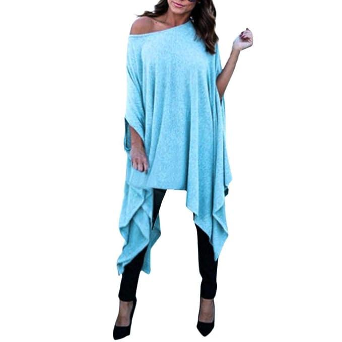 Mujeres Tops Tallas Grandes, Casual Slash Cuello Sexy Blusa SunGren Camisa Suelta Irregular Short Batwing Sleeve Camiseta Larga: Amazon.es: Ropa y ...