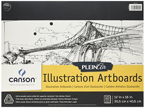 Canson Plein Air Illustration Smooth Art Board Pad for Ink, Markers and Pencils, 12 x 16 Inch, Set of 10 Boards ()