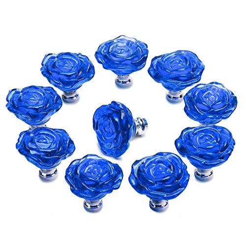 50mm Clear Crystal Glass Cabinet Door Knobs Handles Pulls Cupboard Handles Drawer Wardrobe Hardware Furniture Decoration DIY (Dark Blue) ()