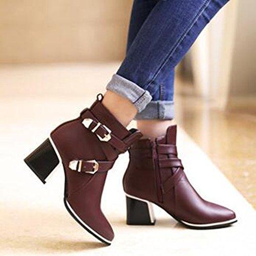 Easemax Kvinners Trendy Spent Stropper Spisse Tå Midten Chunky Hæl Side Glidelås Ankel Boots Red