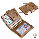 Credit Card Wallet Case RFID Blocking Bifold Wallets for Men Leather Pabin (Vintage Khaki)
