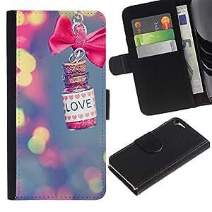 "Apple iPhone 5 / iPhone 5S , la tarjeta de Crédito Slots PU Funda de cuero Monedero caso cubierta de piel ("" Love Blurry Bow Bowtie Blue Lights"")"
