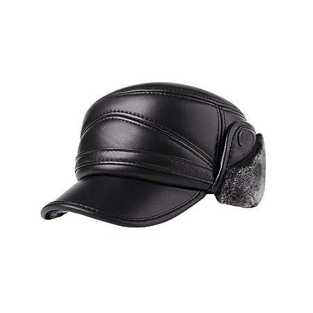 Men s outdoor winter leather hat elderly warm earmuffs thick cotton cap  (Color   A 093e00b595f5