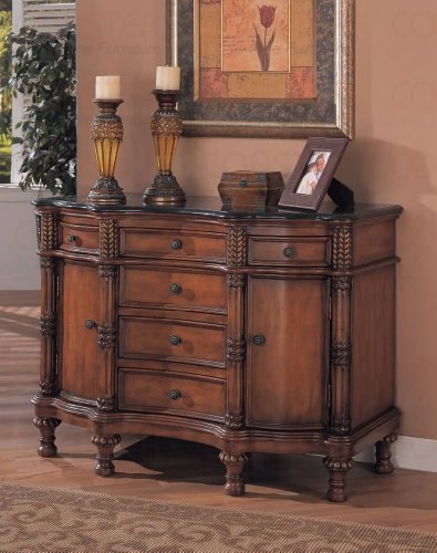 Coaster Beautiful Black Marble Top Entry Way Accent Bombe Chest by Coaster Home Furnishings