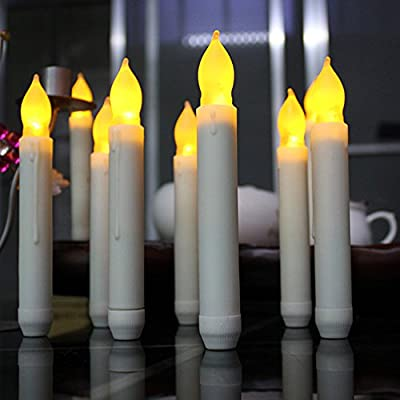 LYNICESHOP Flameless Taper Candles, LED Yellow Decoration Battery Operated Night Lights, Dripless Candles for Birthday, Festival Party, Bars ( Set of 12)