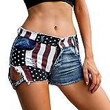 Women Low Waiste American Flag Print Short Jeans