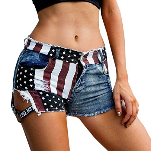 Women Low Waiste American Flag Print Short Jeans Pants Simayixx Distressed Destroyed Denim Shorts Fourth of July Outfit
