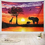 ASOCO Tapestry Wall Handing Silhouette African Animals Sunset Africa Sunset Elephant African Sunrise Wall Tapestry for Bedroom Living Room Tablecloth Dorm 60X80 Inches