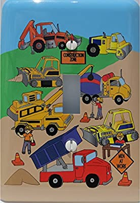 Construction Light Switch Plates / Single Toggle / Construction Theme with Bulldozers, Tractors, Cement Truck, Steamroller, Krane, and Dump Truck Switch Plate