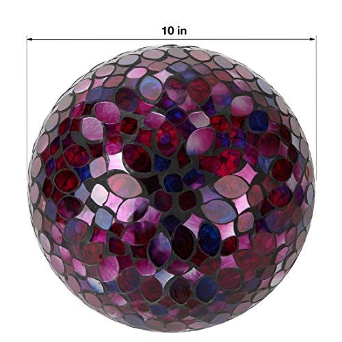 Lily's Home Colorful Mosaic Glass Gazing Ball, Designed with a Stunning Holographic Petal Mosaic Pattern to Bring Color to Any Home and Garden, Red, Blue & Purple (10 Inches Dia.) by Lilyshome (Image #3)