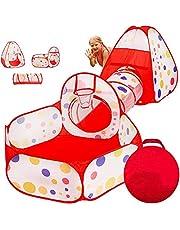 Tienda Campaña Infantil, GLURIZ 3 en 1 Zona de Juegos Infantil : Piscina de Bolas + Casita Infantil + Tunel de Juego : Plegable Parque Bebe Bolas Infantil Jardín Exterior Interior Juguetes Niños Niñas Bebes Casitas Tela(Bolas no está Incluido)