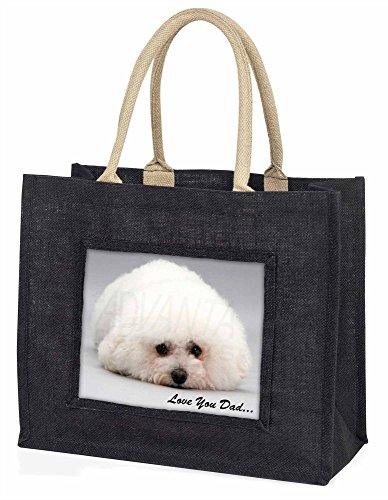 Advanta–Große Einkaufstasche Bichon Frisé Love You Dad Große Einkaufstasche Weihnachtsgeschenk Idee, Jute, schwarz, 42x 34,5x 2cm