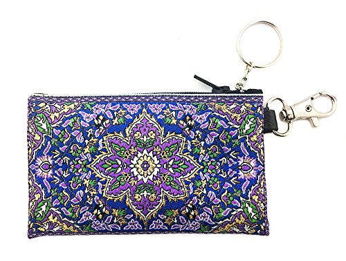(Tapestry Cloth Keychain Rosary Coin Change Case Pouch Purse Purple Blue 4 3/4 Inch)