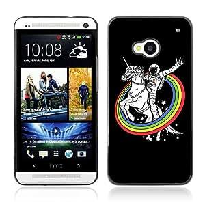 A-type Arte & diseño plástico duro Fundas Cover Cubre Hard Case Cover para HTC One (M7) ( Astronauta y los arco iris del unicornio )