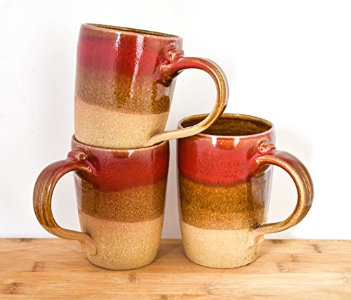 Handthrown ceramic Coffee Mug in Red and Brown. Holds 12 Ounces