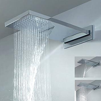 Lovedima Bathroom Luxury Dual Function Waterfall Rain Shower Head Wall Mounted High Pressure Solid Brass Bath Shower Rainfall Showerhead Chrome Amazon Com