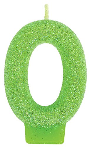 Amscan Glamorous Glitter Birthday Number #0 Birthday Candle, Apple Green, 3