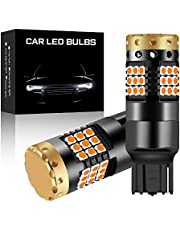 2 PCS Amber High Power 1156 BA15S P21W LED Lamp Bulb 45 LED 3030 SMD Chipsets Extremely Bright Bulbs Built in Canbus Error Free 18W for Car Turn Signal Light Front and Rear Turn Signals Light