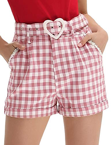 Belle Poque Women's High Waist Distressed Shorts Stretchy Short Pants with Pockets, Pink Plaid, Medium