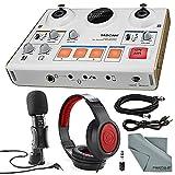 Photo Savings Tascam US-42 MinStudio Creator Audio Interface Podcasting Deluxe Bundle W/Tascam Mic, XLR Cable + Samson Headphones + Fibertique Cleaning Cloth