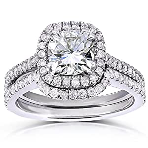 Cushion-Cut Moissanite Bridal Set with Diamond 1 5/8 CTW 14k White Gold, Size 7