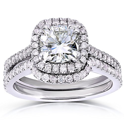 Cushion-Cut Moissanite Bridal Set with Diamond 1 5/8 CTW 14k White Gold, Size 10