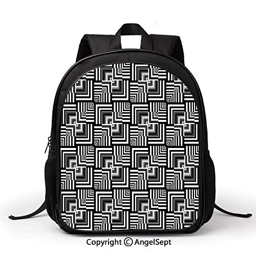 School Backpack Kids Bag Lightweigh,Black and White,Geometric Op Art Pattern Unusual Checked Optical Illusion Effect Modern Decorative,Black White, Simple Comfortable Fashion Bag