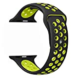 Apple Watch Band, FanTEK Soft Silicone Nike+ Sport Style Replacement iWatch Strap Wrist Band for Apple Watch Series 1 Series 2 Models 42mm M/L Size, Black/Volt