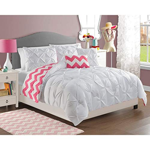 5 Piece Girls Hot Pink Chevron Comforter Full Queen Set, Beautiful Diamond Pattern, Pin Tucked Bedding, Pretty Fun Horizontal Style, Fun White Pinch Pleated, All Over Pintuck Puckered Themed, Salmon for $<!--$83.99-->