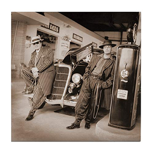 CafePress Retro 1949S Zoot Suit Gas Station Art Tile Coaster, Drink Coaster, Small Trivet ()