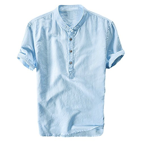 Beotyshow Mens Cotton Henley Casual Buttons Short Sleeve Fit Slim T-Shirts Lightweight Tops Sky Blue