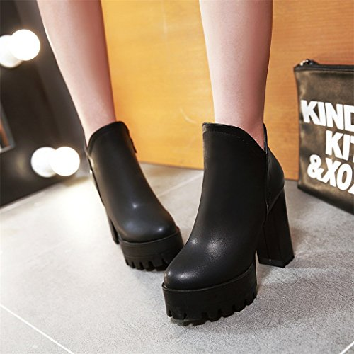 con testa ultra QXIn Black scarpe elegante temperamento stivali inverno nudo laterale di spessore ZQ circolare zip e autunno stivali con a PAAXq