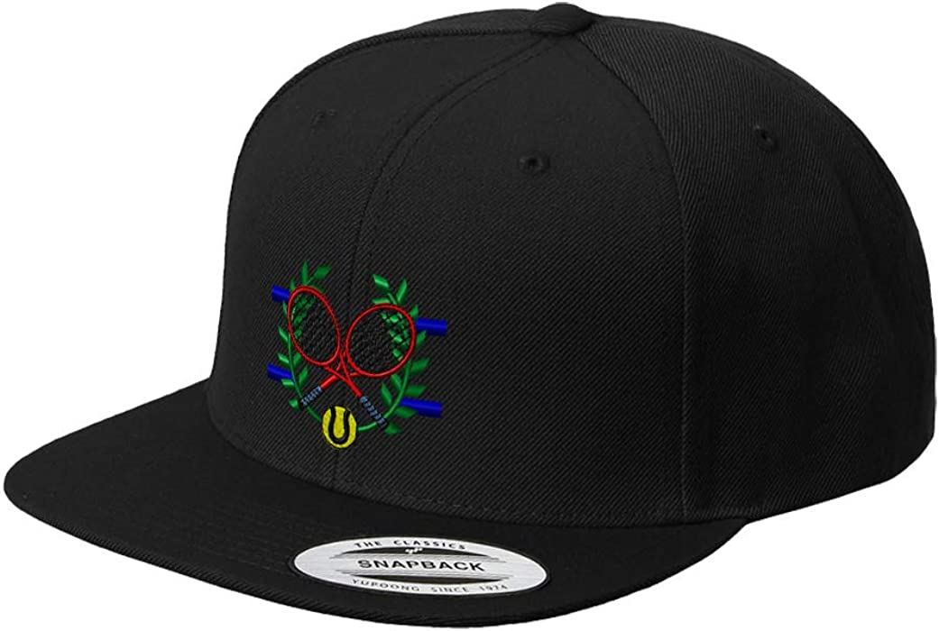 54a6cbca94a224 Snapback Baseball Hat Tennis Crest Embroidery Team Name Acrylic Cap Snaps -  Black, Design Only