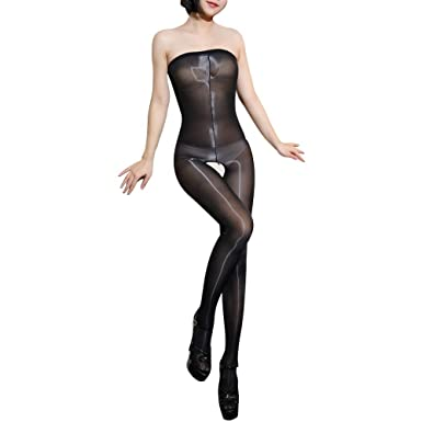 5a778211db540 ElsaYX Women's 8D Shiny Body Stockings Lingerie, One size:Height 4'9inch-